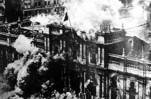 The bombs fall on the Presidential Palace