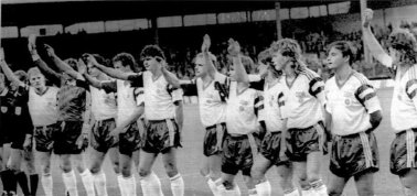 The East German national team salutes the crowd after their last ever match, Anderlecht, 1990